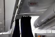 class separation curtain inside a passenger airplane