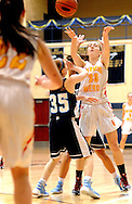 Gwynedd Mercy's Danielle Senour #23 makes a pass to Brigit Coleman #22 as Villa Marie's Julia Samar #35 defends in the first quarter of the District One Class AAA girls basketball championship game Saturday February 27, 2016 at Council Rock South in Northampton, Pennsylvania. (Photo by William Thomas Cain)