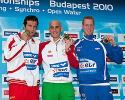 15.08.2010, Budapest, Ungarn, HUN, Schwimmeuropameisterschaften, Budapest 2010, im Bild Budapest European Championships 2010.in Swimming, Diving, Synchronised Swimming, Open Water Swimming.Day 8.Swimming Men's 200m Individual Medley.Gold Medal        Cshe Laslo HUN.Silver Medal      Rogan Marcus AUT.Bronze Medal   Roebuk Joe GBR.EXPA Pictures © 2010, PhotoCredit: EXPA/ InsideFoto/ Giorgio Scala +++++ ATTENTION - FOR AUSTRIA AND SLOVENIA CLIENT ONLY +++++