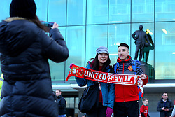 Manchester United fans pose for pictures outside Old Trafford - Mandatory by-line: Robbie Stephenson/JMP - 13/03/2018 - FOOTBALL - Old Trafford - Manchester, England - Manchester United v Sevilla - UEFA Champions League Round of 16 2nd Leg