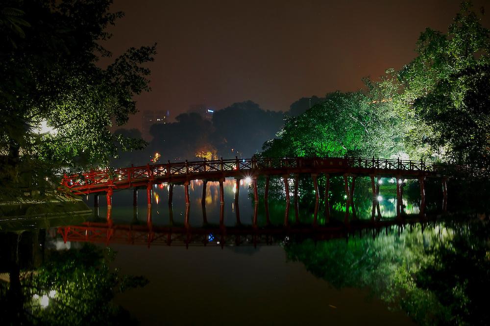 The Huc Bridge in Hanoi, Vietnam.