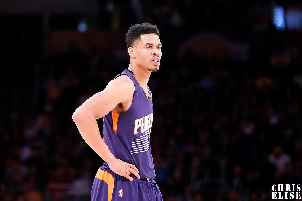 04 November 2014: Phoenix Suns guard Gerald Green (14) rests during the Phoenix Suns 112-106 victory over the Los Angeles Lakers, at the Staples Center, Los Angeles, California, USA.