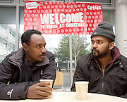 Crisis at Christmas, London, Great Britain <br /> 23rd December 2016 <br /> <br /> 2 homeless men arrive at centre <br /> <br /> First day of operations at one of the Crisis centres in London.<br /> <br /> Crisis at Christmas is a lifeline for thousands of homeless people across the UK, offering support, companionship and vital services over the festive period.<br />  <br /> Crisis at Christmas provides immediate help for homeless people at a critical time - one in four homeless people spends Christmas alone - but our work does not end there. We encourage guests to take up the life-changing opportunities on offer all year round at our centres across the country. <br />  <br /> Crisis is the national charity for homeless people.<br /> <br /> Crisis reveals scale of violence and abuse against rough sleepers as charity opens its doors for Christmas<br /> <br /> People sleeping on the street are almost 17 times more likely to have been victims of violence and 15 times more likely to have suffered verbal abuse in the past year compared to the general public, according to new research from Crisis, the national charity for homeless people.<br />  <br /> <br /> Photograph by Elliott Franks <br /> Image licensed to Elliott Franks Photography Services