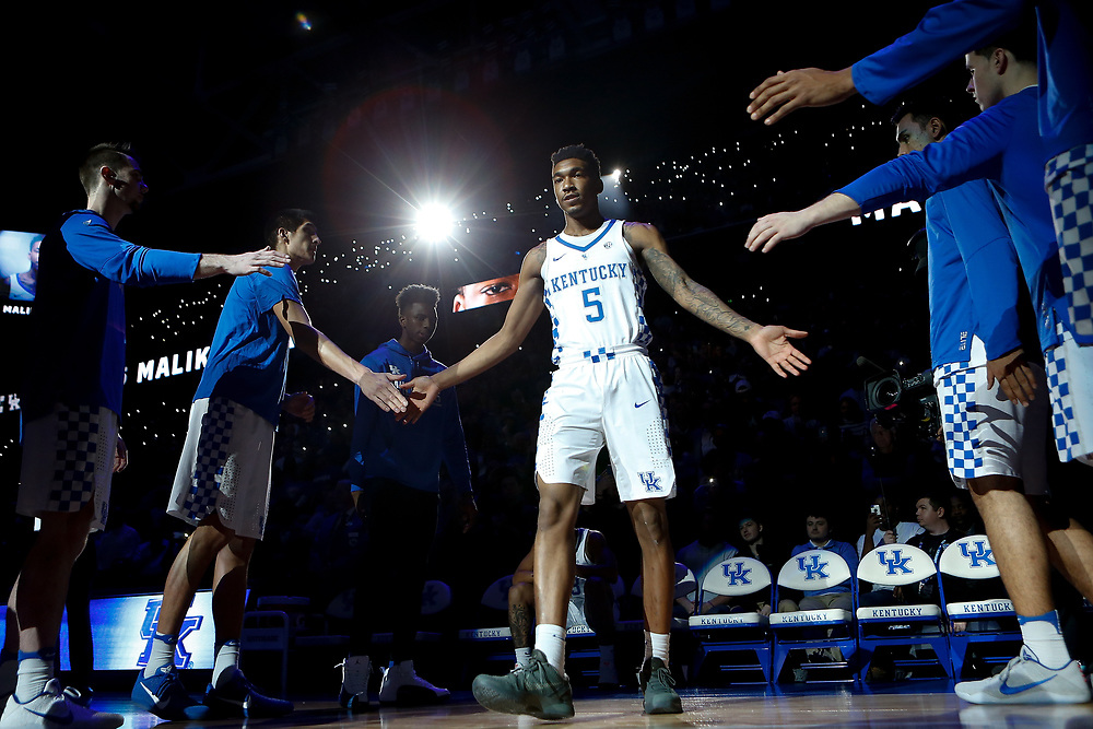 Kentucky Wildcats guard Malik Monk high fives teammates during pregame introductions prior to the game against the Kansas Jayhawks on Saturday January 28, 2017 at Rupp Arena in Lexington, Ky. Photo by Michael Reaves | Staff