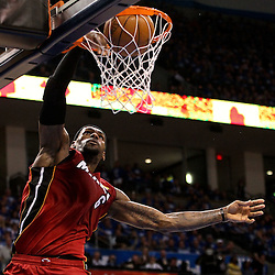 Jun 12, 2012; Oklahoma City, OK, USA; Miami Heat small forward LeBron James (6) dunks against the Oklahoma City Thunder during the second quarter of game one in the 2012 NBA Finals at the Chesapeake Energy Arena.  Mandatory Credit: Derick E. Hingle-US PRESSWIRE