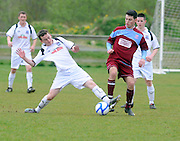 Shane Keogh Galway United and Conor Meade Cobh Ramblers in Cappa Park in Knocknacarra, Galway. Photo:Andrew Downes.