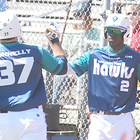 UNCW's Zach Shield greets Terence Connelly after scoring a run against Maryland Sunday March 8, 2015 at Brooks Field. (Jason A. Frizzelle)