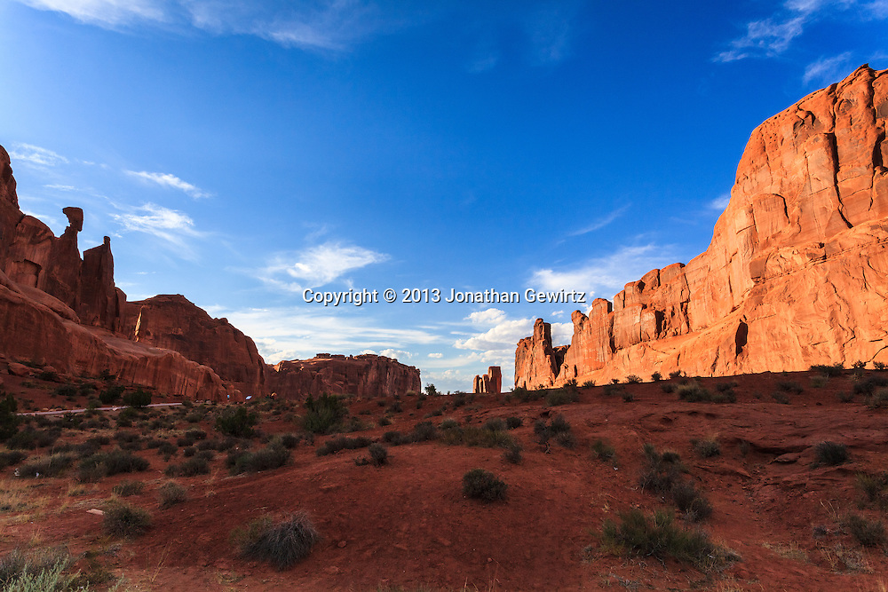 Dramatic rock formations along the Park Avenue trail in Arches National Park, Utah. WATERMARKS WILL NOT APPEAR ON PRINTS OR LICENSED IMAGES.