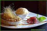 GLOBE 100 Boston, MA 041509  Peach cobbler dessert from Da Vinci Ristorante which you get for free is the Dow Jones drops. Photographed on April 15, 2209. (Essdras M Suarez/Globe Staff)/BUZ