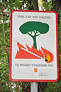 Forest fire prevention sign, photographed in Catalonia, Spain