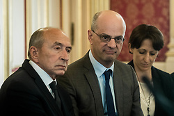 March 22, 2019 - Lyon, France - The Minister of Education Jean-Michel Blanquer signed the ''Wednesday Plan'' agreement and the Lyon territorial educational project alongside the mayor of the city Gérard Collomb, in Lyon, France, on 22 March 2019. (Credit Image: © Nicolas Liponne/NurPhoto via ZUMA Press)