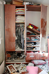 © Licensed to London News Pictures 20/11/2012.  Be'er Sheva, Israel.   Damage to a family home in the city of Be'er Sheva.  The house was hit by a rocket this morning.  The family managed to escape into a safe room before the attack took place.  The rocket strike came after 16 missiles were fired at the city from Gaza.  Photo credit : Alison Baskerville/LNP