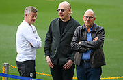 Manchester United Manager Ole Gunnar Solskjaer with Avram and Joel Glazer during the Manchester United FC training session ahead of the Champions League quarter-final 2nd leg match at Camp Nou, Barcelona, Spain on 15 April 2019.