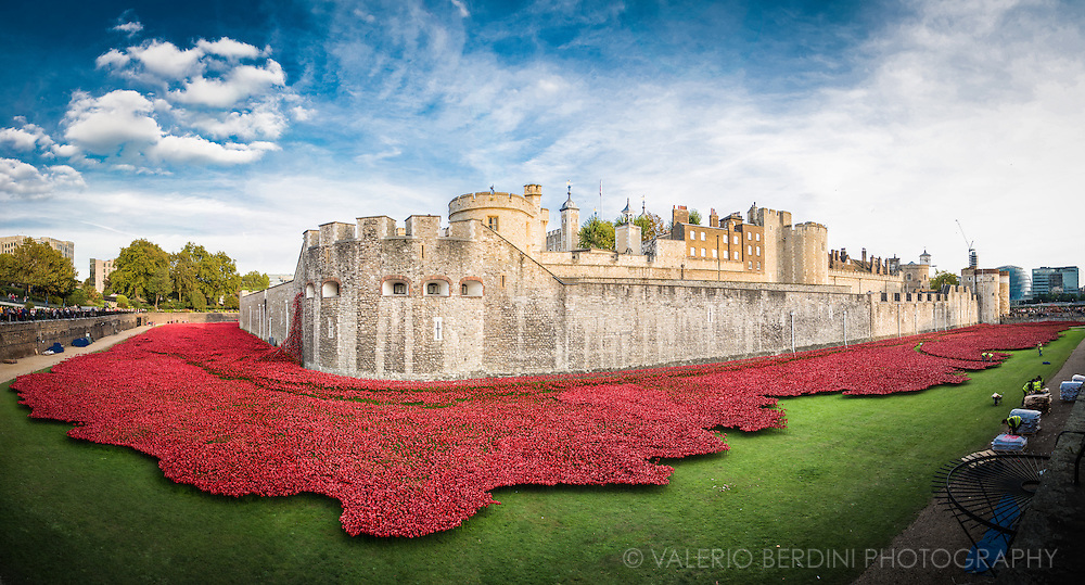 Blood Swept Lands and Seas of Red<br /> is an evolving installation marking the centenary of the outbreak of the First World War. Created by ceramic artist Paul Cummins, with setting by stage designer Tom Piper, 888,246 ceramic poppies will progressively fill the Tower&rsquo;s famous moat.