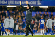 Derby County Manager Frank Lampard salutes the Chelsea fans after the EFL Cup 4th round match between Chelsea and Derby County at Stamford Bridge, London, England on 31 October 2018.