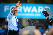 President of the United States Barack Obama greets a crowd of nearly 14,000 on Ohio University's College Green in Athens, Ohio, on Wednesday, October 17, 2012.  (© 2012 Brien Vincent)