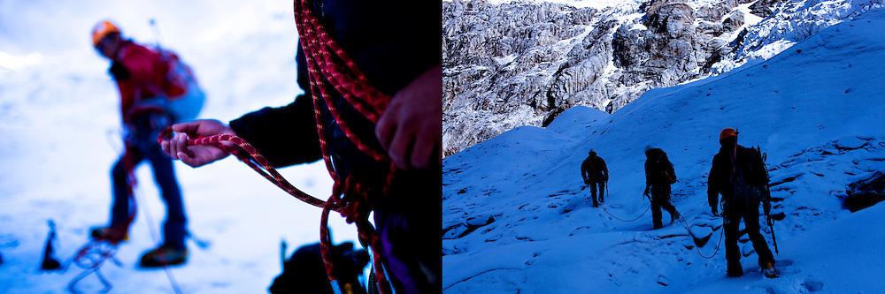 Peruvian mountain guides  Abel Colana and Carlos Callupe prepare to  trek the White Mountain range  near Huaraz, Peru, Saturday, Jan. 15, 2011.(Photo Dado Galdieri)