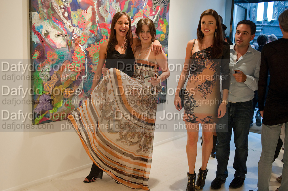 LAUREN MEZZINA; ; ANNA ABRAMOVICH; ,  Private view and Summer party for Scream Now. An exhibitio of new work by gallery artists. Bruce French,, Derrick Santini, Greg Miller, Malgosia Stepnik, Pakpoom Silaphan, Petroc Sesti, Russell Young. Scream. Bruton st. London. 4 August 2011. <br /> <br />  , -DO NOT ARCHIVE-© Copyright Photograph by Dafydd Jones. 248 Clapham Rd. London SW9 0PZ. Tel 0207 820 0771. www.dafjones.com.