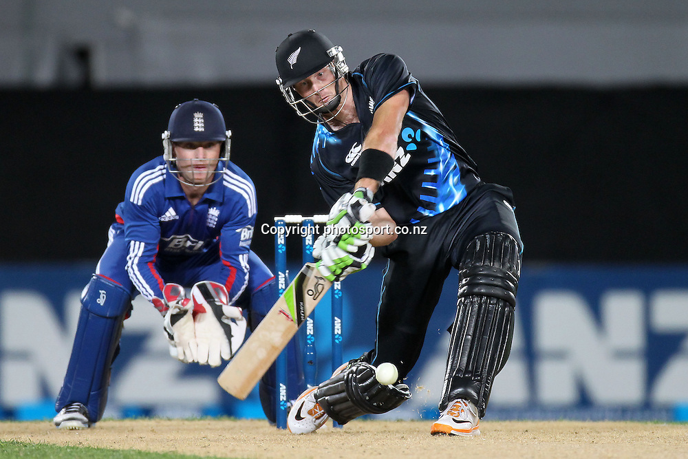 Martin Guptill in action in the ANZ T20 Series, NZ V England, Eden Park, 9 February 2013. Photo: Fiona Goodall/photosport.co.nz