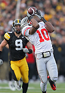 November 20 2010: Ohio State Buckeyes wide receiver Corey Brown (10) can't pull in a pass during the second quarter of the NCAA football game between the Ohio State Buckeyes and the Iowa Hawkeyes at Kinnick Stadium in Iowa City, Iowa on Saturday November 20, 2010. Ohio State defeated Iowa 20-17.