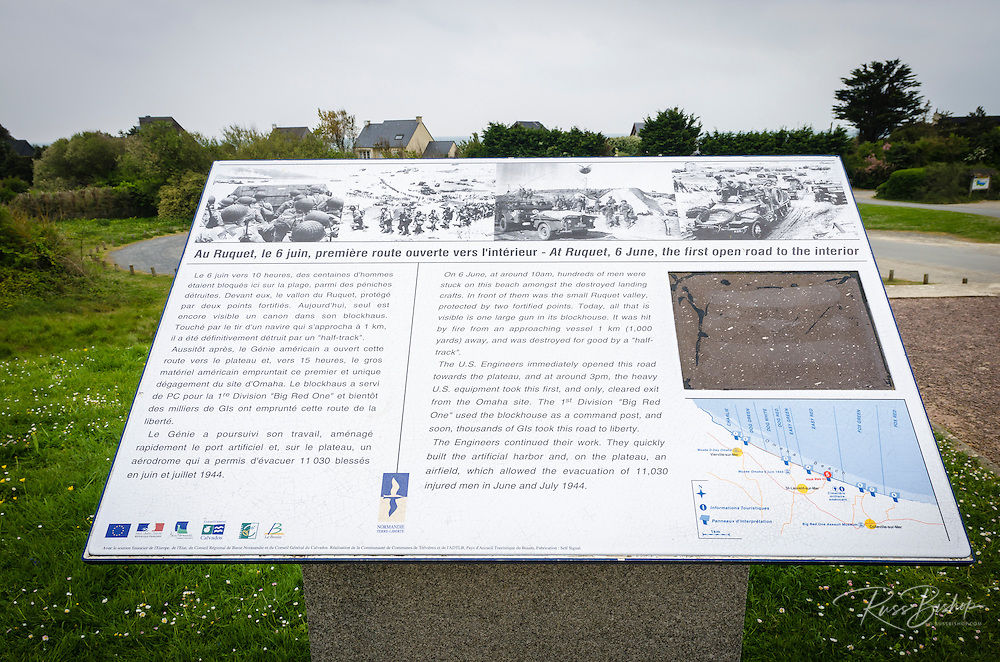 WWII D-Day memorial on Omaha Beach, Normandy, France