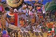 PERU, CUZCO mural of Inca Pachacutec Yupanqui