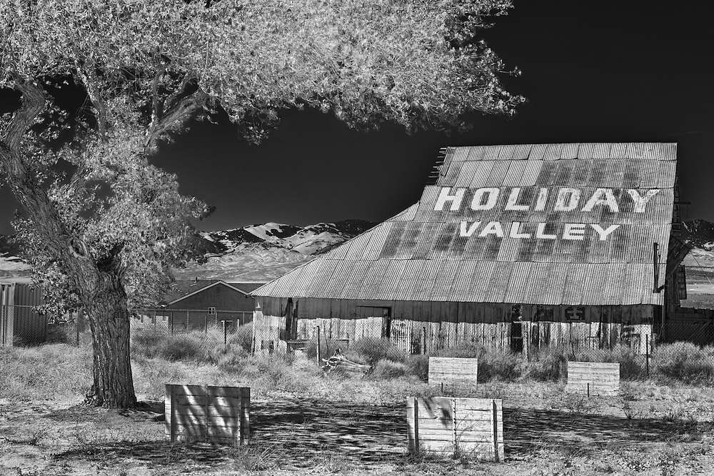 Holiday Valley Barn - Highway 138 - HDR - Infrared Black & White