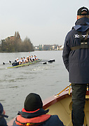London, Great Britain. Oxford, OUBC [Blue Boat] v. Leander Club, view from the Umpires Launch, Pre Boat race fixture over the Championship Course  River Thames. Single race piece - Putney to Chiswick Pier.  on Saturday  12/03/2011 [Mandatory Credit; Karon Phillips/Intersport Images]..Crews:.Oxford OUBC: Bow Moritz HAFNER, Ben MYERS, Dave WHIFFIN,  Ben ELLISON,  Karl HUDSPITH,  Alec DENT,  George WHITTAKER, Stroke Constantine LOULOUDIS, Cox Sam WINTER-LEVY. ..Leander: Bow Oliver HOLT,  Will GRAY,  Graham HALL,  John CLAY,  James ORME,  Tom CLARK,  Ben DUGGAN, Stroke David LAMBOURN, Cox Alex OLIJNYK..