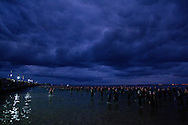 Swim Start. 2012 Ironman Melbourne. Asia-Pacific Championship. 25/03/2012. Photo By Lucas Wroe.