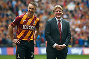 Bradford City defender Anthony McMahon (29) and Bradford City Manager Stuart McCall await the national anthem during the EFL Sky Bet League 1 play off final match between Bradford City and Millwall at Wembley Stadium, London, England on 20 May 2017. Photo by Simon Davies.