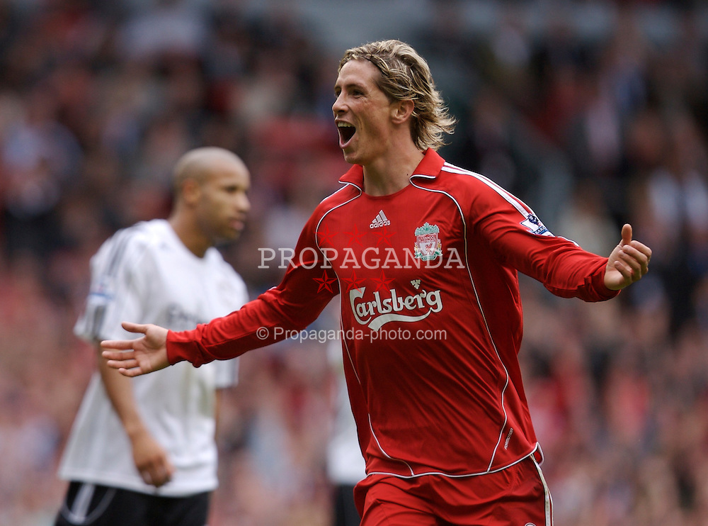 Liverpool, England - Saturday, September 1, 2007: Liverpool's Fernando Torres celebrates scoring the third goal against Derby County during the Premiership match at Anfield. (Photo by David Rawcliffe/Propaganda)