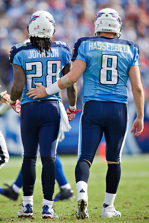 NASHVILLE, TN - OCTOBER 30:  Quarterback Matt Hasselbeck #8 pats Chris Johnson #28 of the Tennessee Titans on the back during a game against the Indianapolis Colts at the LP Field on October 30, 2011 in Nashville, Tennessee.  The Titans defeated the Colts 27 to 10.  (Photo by Wesley Hitt/Getty Images) *** Local Caption *** Matt Hasselbeck; Chris Johnson
