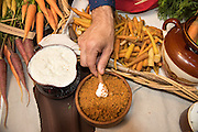 Researcher Claire Luby brought a variety of carrots to Chef Jason French of Ned Ludd who cooked the tips and made a dip and crumble.