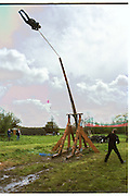 Richard Wicks being fired for the first time by Trebuchet.. April 2000Dangerous Sports Club first trebuchet human catapult. 2000<br />© Copyright Photograph by Dafydd Jones<br />66 Stockwell Park Rd. London SW9 0DA<br />Tel 0171 733 0108