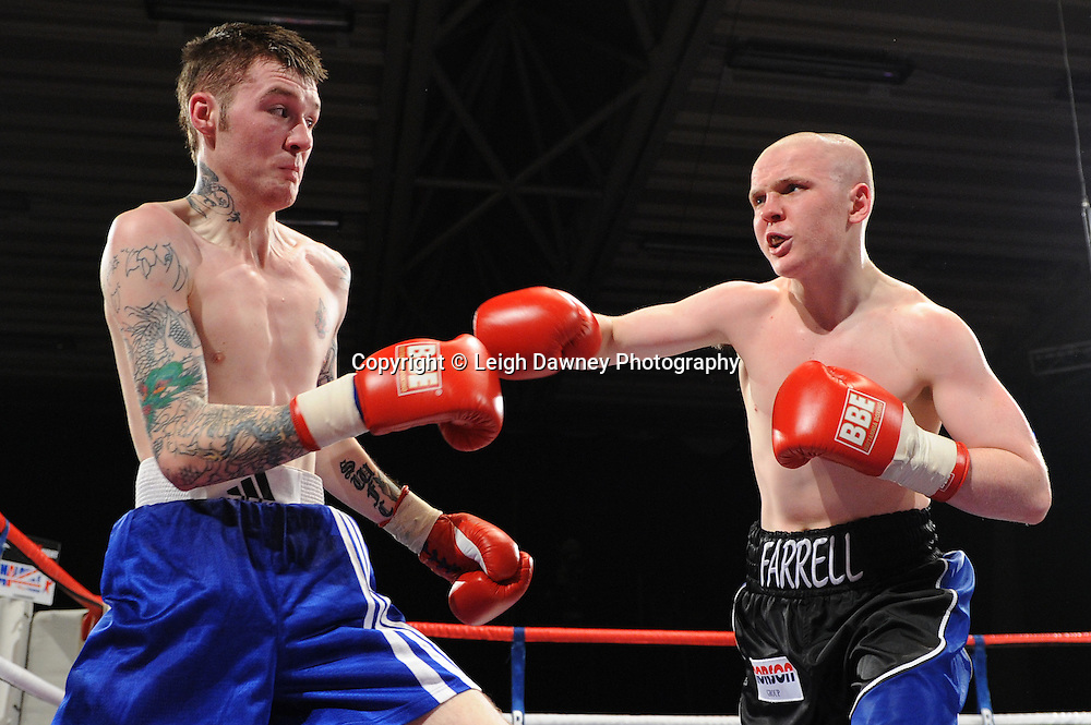 Kieran Farrell defeats Jason Carr (Feather weight) on the 22nd January 2011 at Doncaster Dome, Doncaster - Frank Maloney Promotions. Credit © Leigh Dawney.