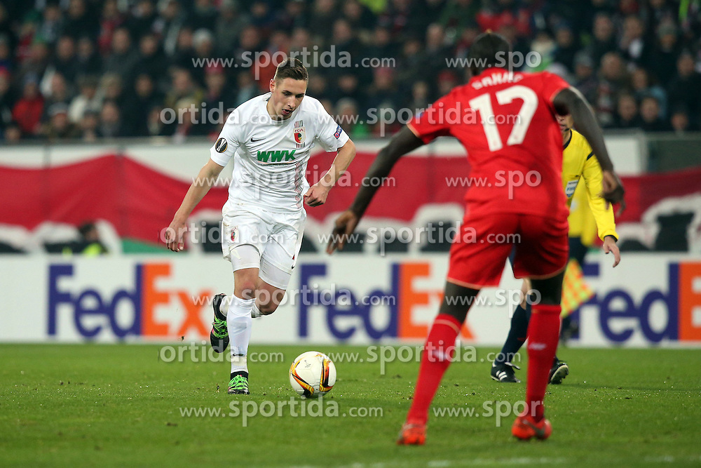 18.02.2016, WWKArena, Augsburg, GER, UEFA EL, FC Augsburg vs FC Liverpool, Sechzehntelfinale, Hinspiel, im Bild Dominik Kohr ( FC Augsburg ) Mamadou Sakho ( FC Liverpool ) // during the UEFA Europa League Round of 32, 1st Leg match between FC Augsburg and FC Liverpool at the WWKArena in Augsburg, Germany on 2016/02/18. EXPA Pictures © 2016, PhotoCredit: EXPA/ Eibner-Pressefoto/ Langer<br /> <br /> *****ATTENTION - OUT of GER*****