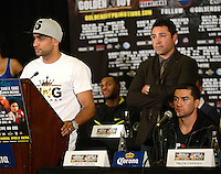 Dec 12,2012. Los Angeles CA. USA.. Amir Khan(L), Oscar De La Hoya(C.) at Los Angeles press conference on his upcoming fight this Saturday with Carlos Molina(R.). The fight will be scene on ShowTime live from the Los Angeles Sports Arena. Photo by Gene Blevins/LA Daily News