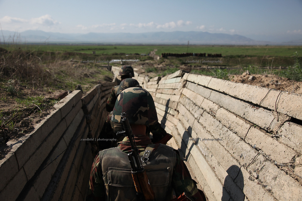 Inside the trenches and shelters of the karabakh army near Adgam frontline next to the aserbaijani positions. Since the cesasefire agreement from 1994 armenian and aseri forces have made the border area around the unrecognized Repblice Nagorno Karabkh to a warren of trenches. Shootings between both army taken place regularly.