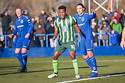 AFC Wimbledon forward Dominic Poleon (10) is marked by Curzon Ashton midfielder Clark Luke (8)  during the The FA Cup match between Curzon Ashton and AFC Wimbledon at Tameside Stadium, Ashton Under Lyne, United Kingdom on 4 December 2016. Photo by Simon Davies.