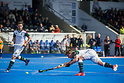 Surbiton's Gareth Furlong shoots at a penalty corner. Wimbledon v Surbiton - Men's Hockey League Final, Lee Valley Hockey & Tennis Centre, London, UK on 23 April 2017. Photo: Simon Parker