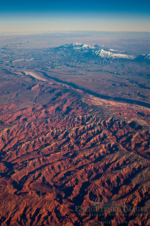 Aerial view over the hills and high desert above Capital Reef National Park, Utah
