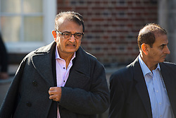 © Licensed to London News Pictures. 09/10/2015. London, UK. Anni Dewani's father Vinod Hindocha (left) leaving North London Coroner's Court in Barnet, north London where a Coroner ruled there will be no inquest into murdered honeymoon bride Anni Dewani. Photo credit: Ben Cawthra/LNP