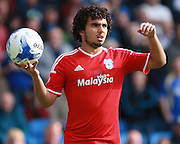 Cardiff City defender Fabio Da Silva prepares to take a throw during the Sky Bet Championship match between Brighton and Hove Albion and Cardiff City at the American Express Community Stadium, Brighton and Hove, England on 3 October 2015. Photo by Bennett Dean.