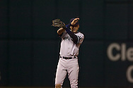 New York Yankees shortstop Derek Jeter swats away bugs in Game 2 of the 2007 ALDS at Jacobs Field in Cleveland.