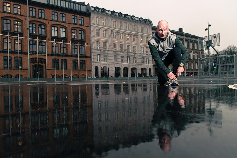 TV2 vært Lasse Sjørslev is photographed at Nørreport Station and Israels Plads in Copenhagen as he prepares for the 2015 Copenhagen Half Marathon