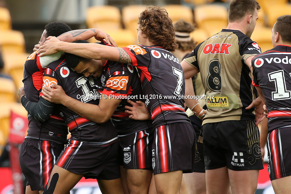 Try celebrations for the Warriors during the Holden Cup match Warriors v Panthers at Mt Smart Stadium on Saturday 30 July 2016. Auckland, New Zealand. © Copyright Photo: Fiona Goodall / www.photosport.nz