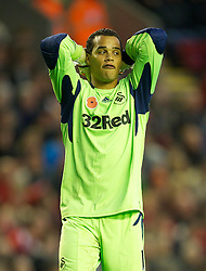 05.11.2011, Anfield Stadion, Liverpool, ENG, Premier League, FC Liverpool vs Swansea City, im Bild Swansea City's goalkeeper Michael Vorm looks dejected after his side miss a chance to score against Liverpool  // during the premier league match between FC Liverpool vs Swansea City at Anfield Stadium, Liverpool, EnG on 05/11/2011. EXPA Pictures © 2011, PhotoCredit: EXPA/ Propaganda Photo/ David Rawcliff +++++ ATTENTION - OUT OF ENGLAND/GBR+++++