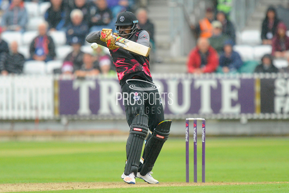 Somerset's Chris Gayle during the NatWest T20 Blast South Group match between Somerset County Cricket Club and Hampshire County Cricket Club at the Cooper Associates County Ground, Taunton, United Kingdom on 19 June 2016. Photo by Graham Hunt.