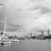 London Eye - Thames River View Of Parliment - London, UK - Black & White