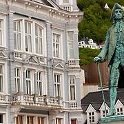 Three weeks aboard the Kong Harald. Hurtigruten, the Coastal Express. Bergen. A statue in Bergen.